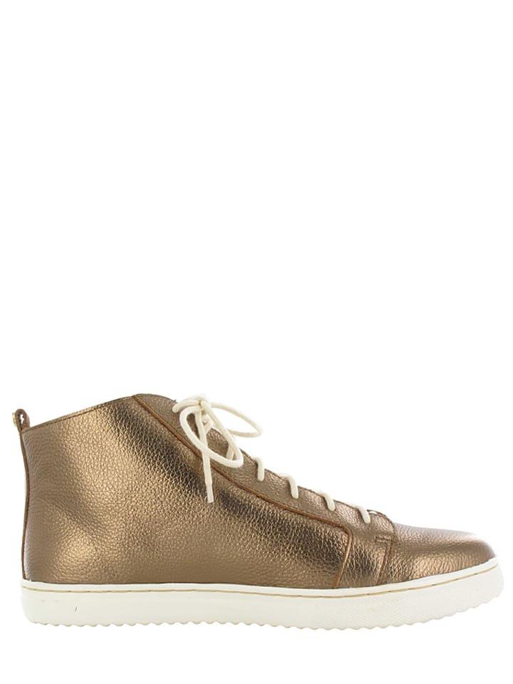 """Flip Flop Leder-Sneakers """"Stroller"""" in Gold"""