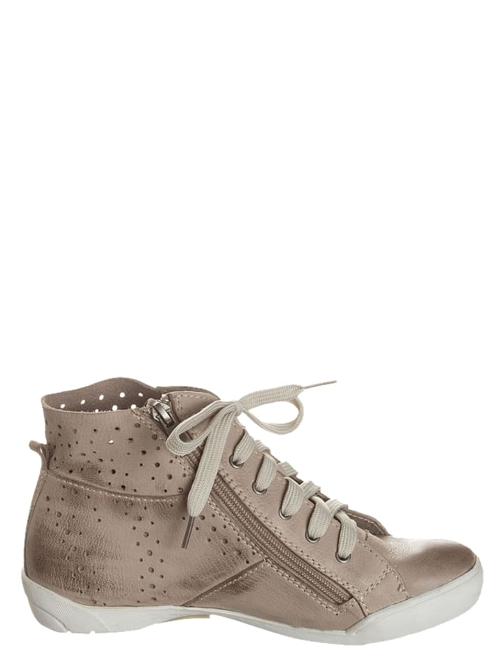 Andrea Conti Leder-Sneakers in Taupe
