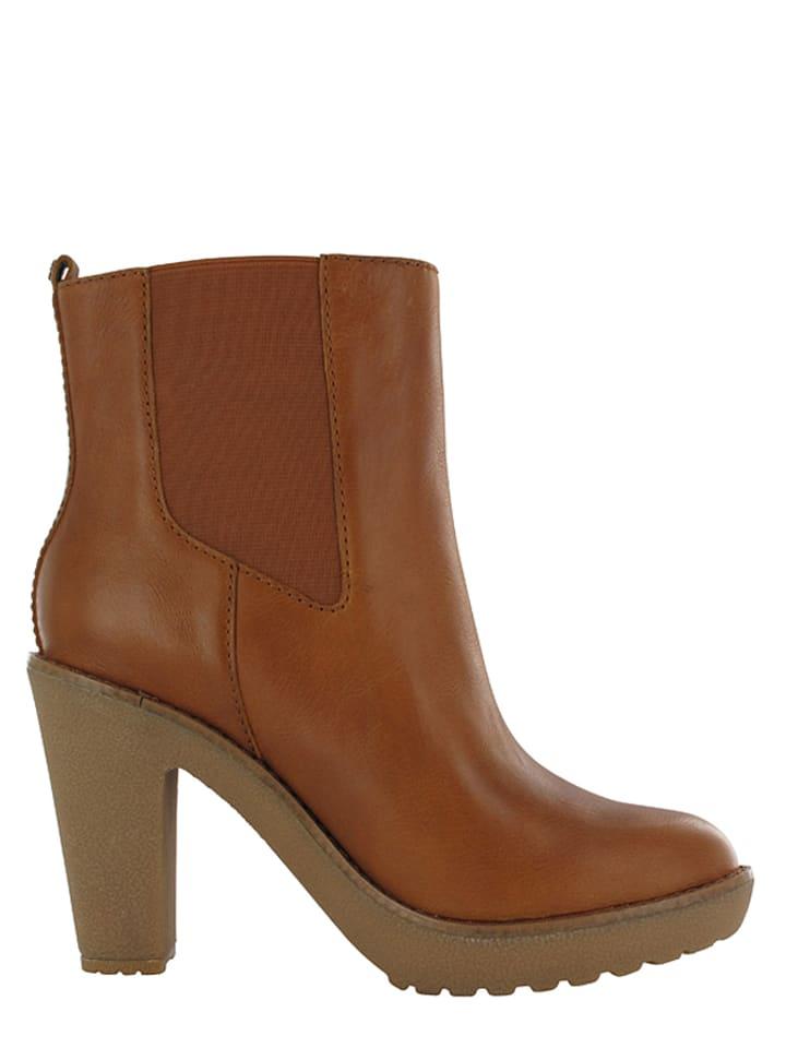 """Flip Flop Leder-Chelsea Boots """"Gauchess"""" in Cognac"""