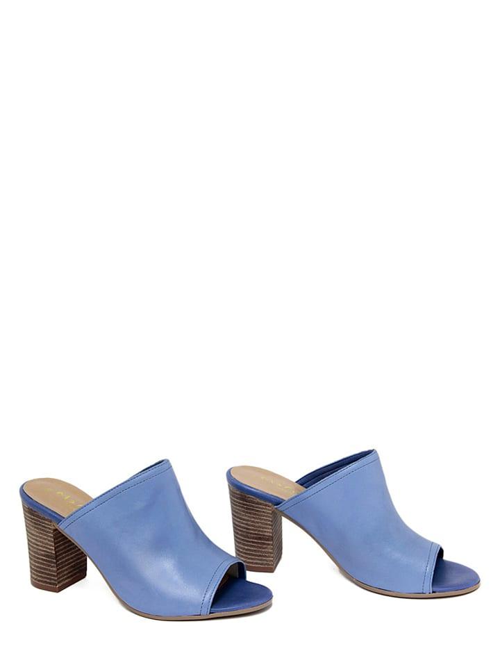 Mariella Leder-Pantoletten in Blau
