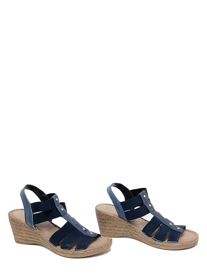 Mariella Leder-Sandaletten in Dunkelblau