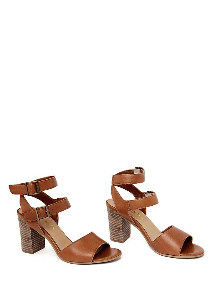 Mariella Leder-Sandaletten in Hellbraun