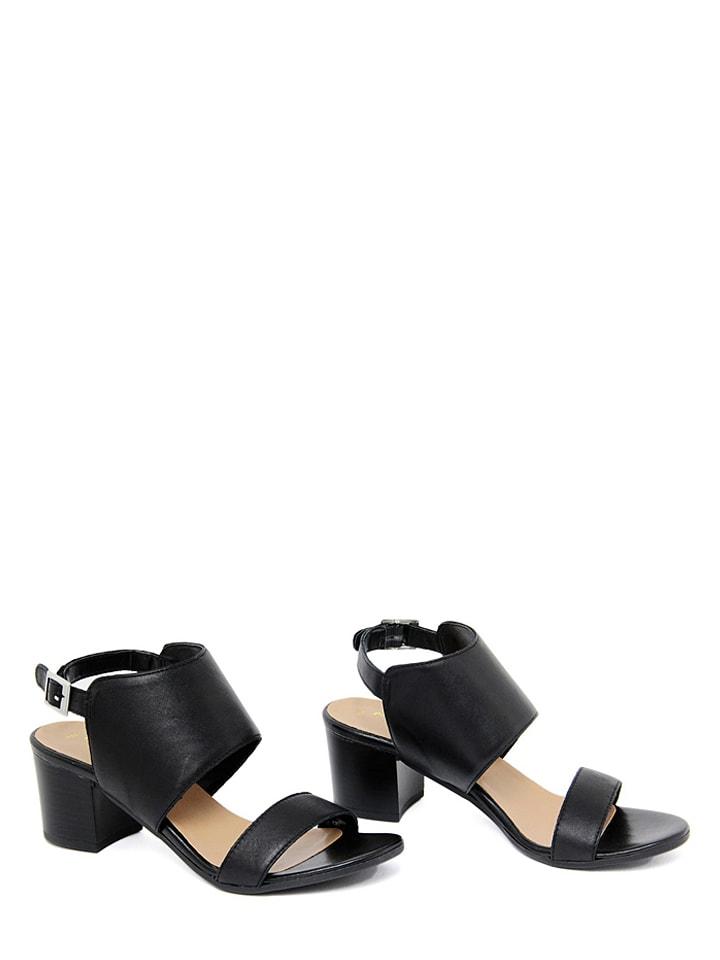 Mariella Leder-Sandaletten in Schwarz