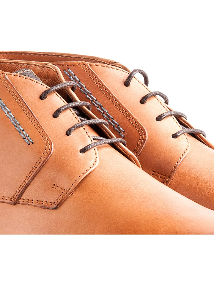 "TRAVELIN' Leder-Schn眉rschuhe ""London"" in Cognac"