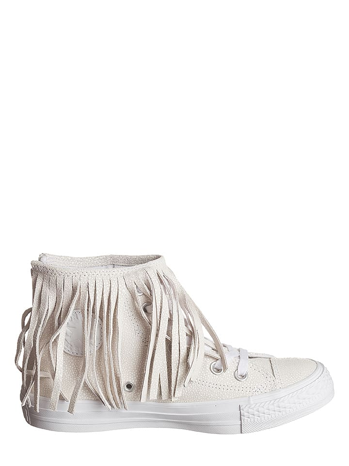 Converse Leder-Sneakers in Creme/ Wei