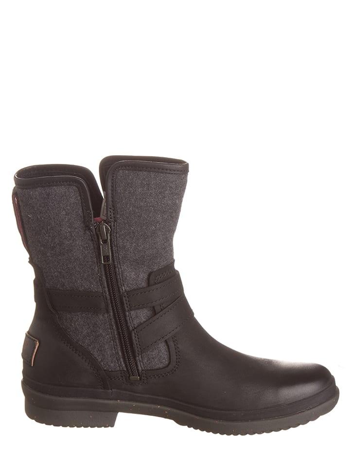 """UGG Leder-Boots """"Simmens"""" in Schwarz/ Grau"""