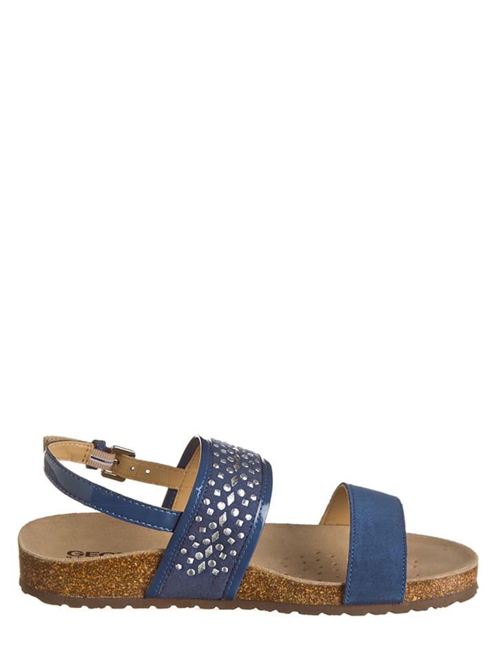 "Geox Leder-Sandalen ""Zayna B"" in Blau"
