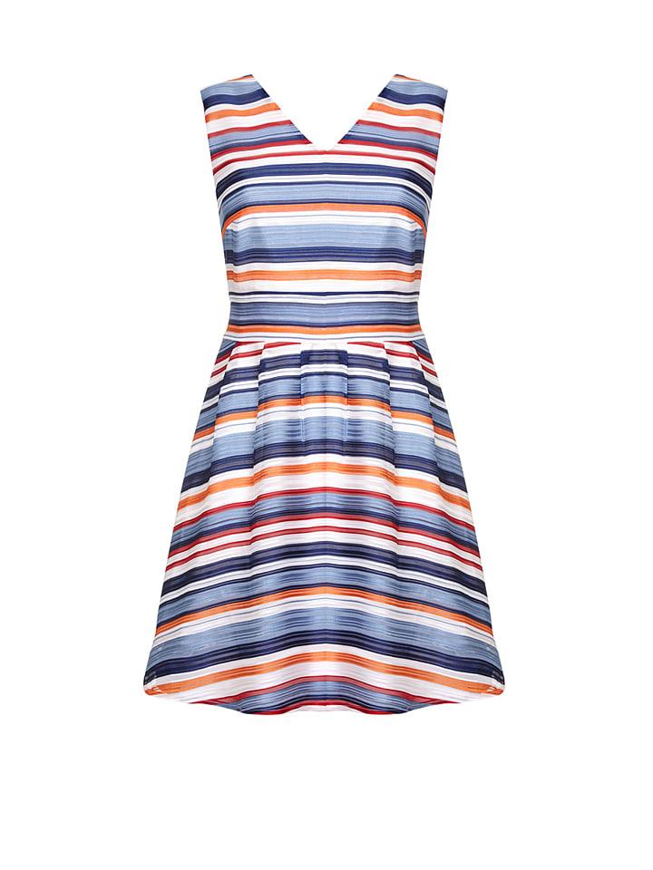 Yumi Kleid in Blau/ Orange/ Wei