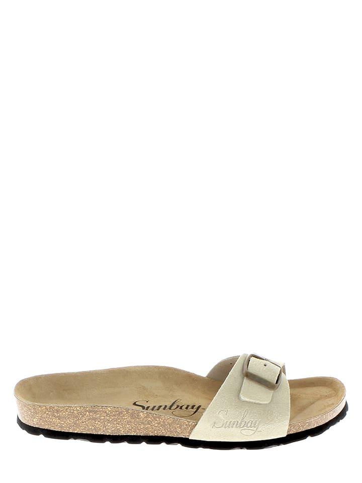 Sunbay Leder-Pantoletten in Sand
