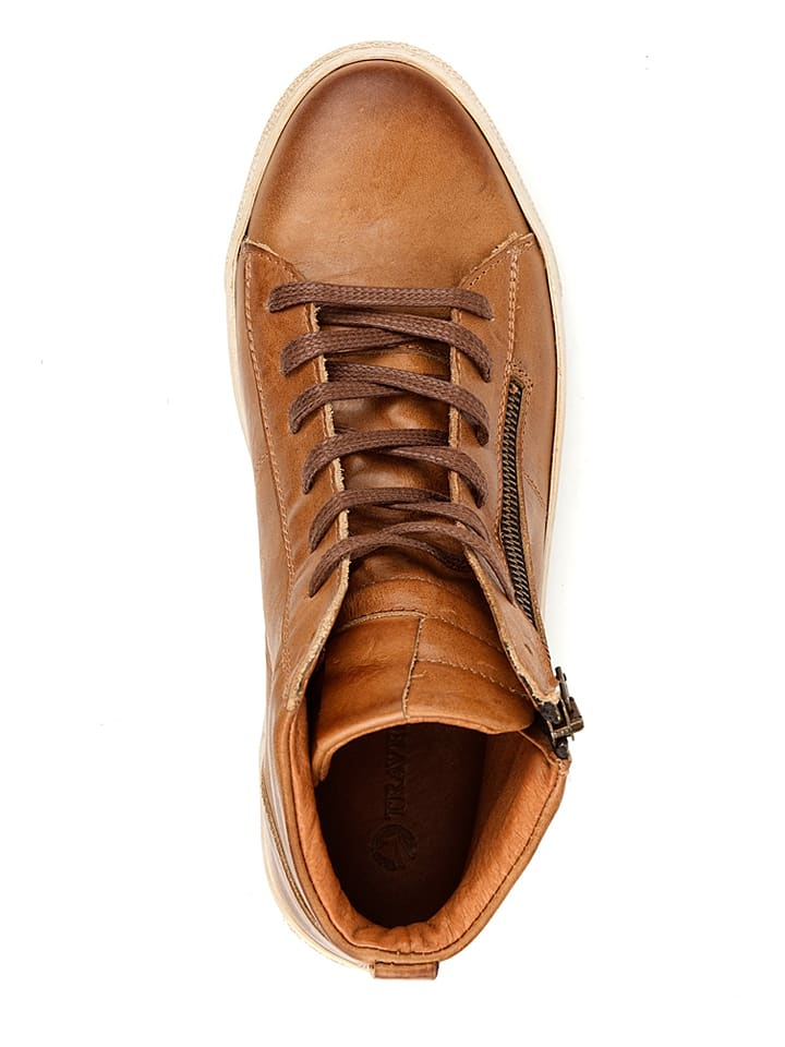 "TRAVELIN' Leder-Sneakers ""Orl茅ans"" in Cognac"