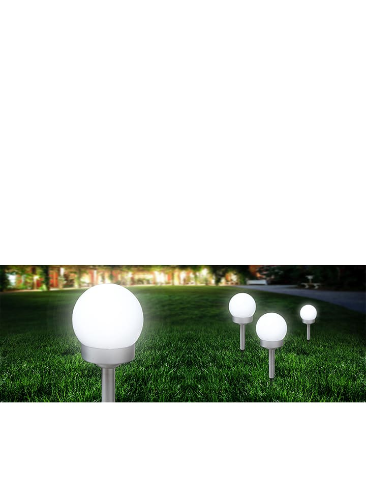 De Lot À Edyw29ehi Globo Lighting 3lampes Solaires Led Piquer Blanc A54RjL3