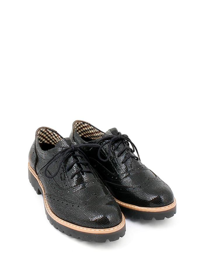 Zapato Leder-Schn眉rschuhe in Schwarz