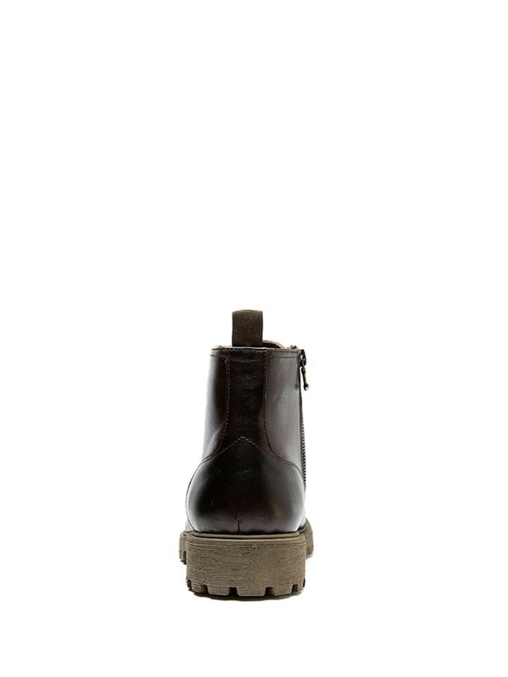 British Passport Leder-Boots in Dunkelbraun