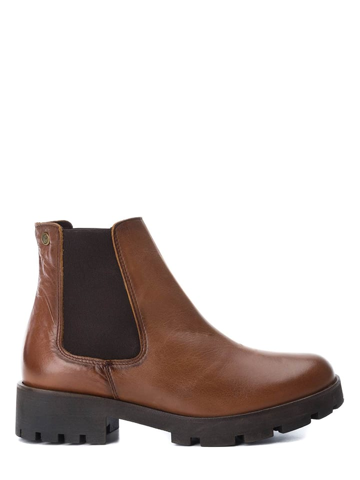 CARMELA Leder-Chelsea-Boots in Camel