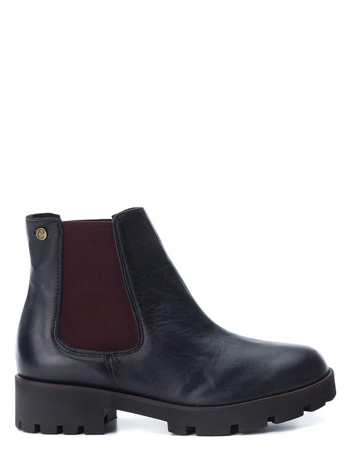 CARMELA Leder-Chelsea-Boots in Dunkelblau