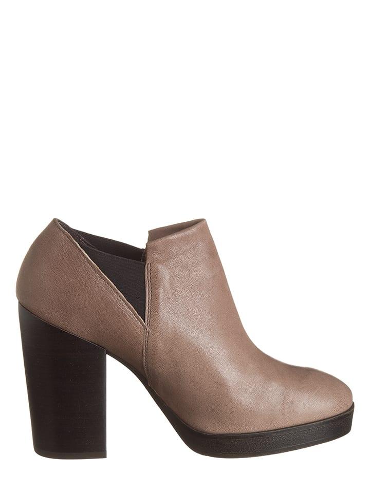 CAF猫NOIR Leder-Ankle-Boots in Taupe
