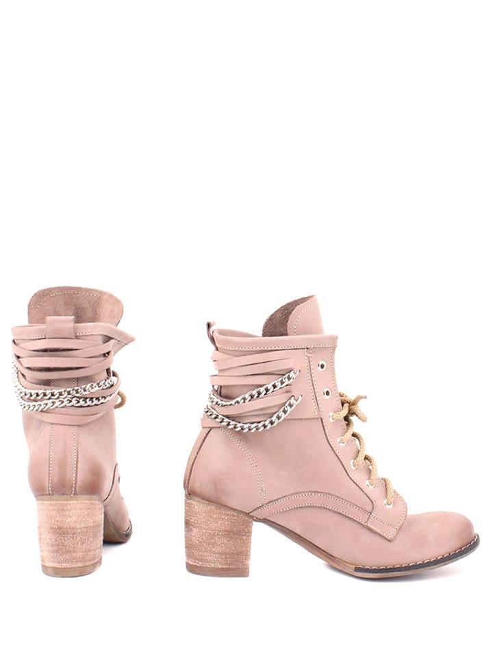 Zapato Leder-Stiefeletten in Hellbraun