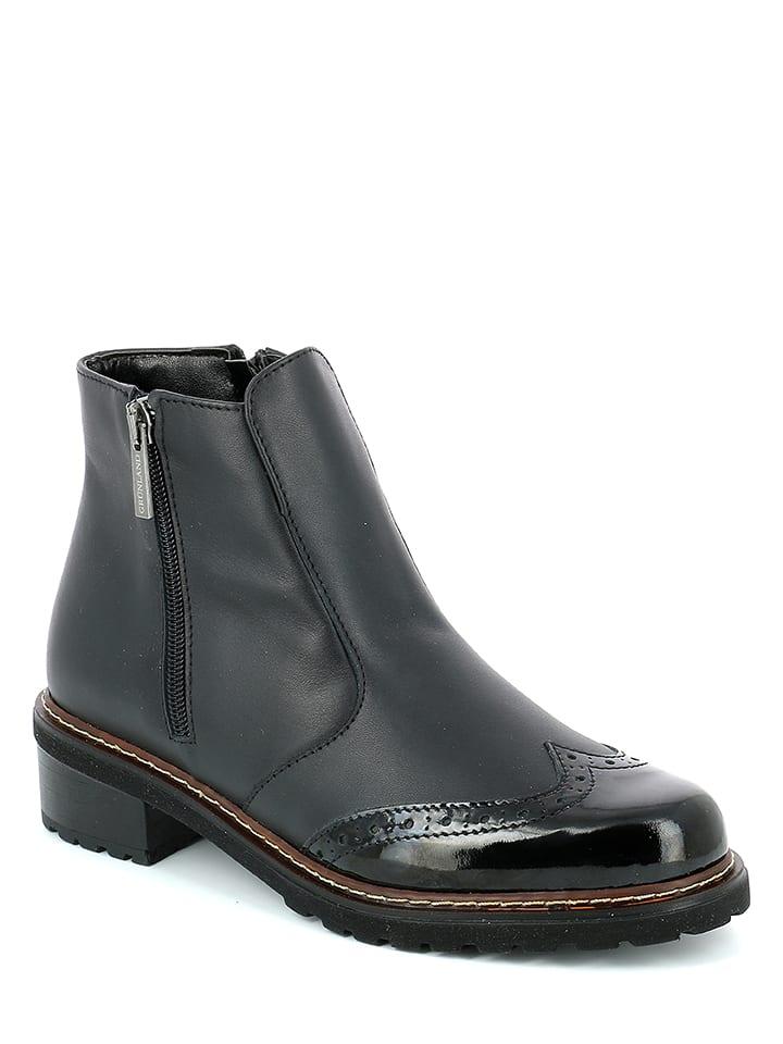 Gr眉nland Leder-Boots in Schwarz