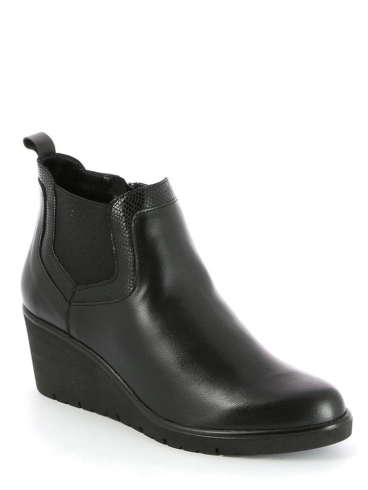 Gr眉nland Leder-Ankleboots in Schwarz