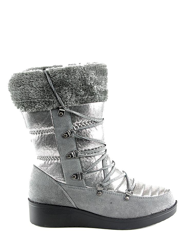 Catisa Boots in Grau/ Silber