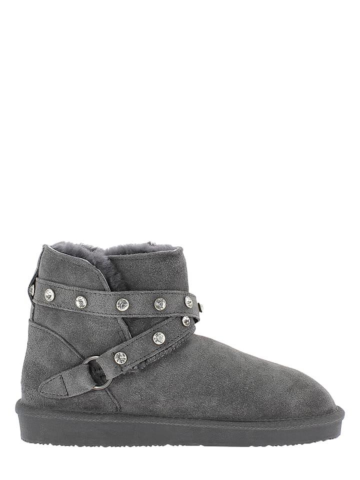 Minnetonka Leder-Boots in Grau
