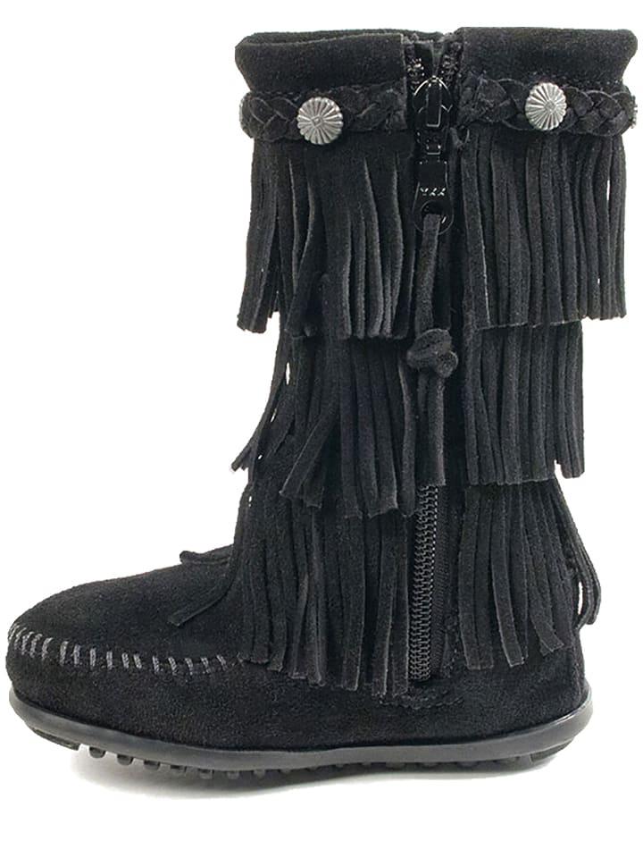 Minnetonka Leder-Stiefel in Anthrazit