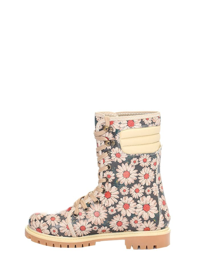 Cotto Boots in Beige/ Schwarz/ Rot