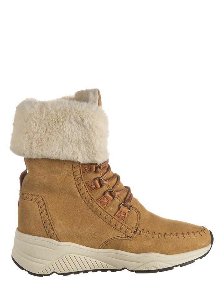 """Napapijri Leder-Boots """"Doris"""" in Kamel"""