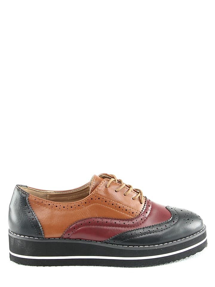 R and BE Schn眉rschuhe in Schwarz/ Rot