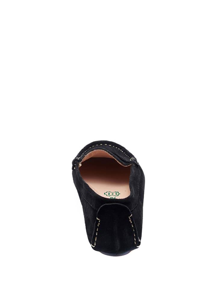 Comfortfusse Leder-Mokassin in Schwarz