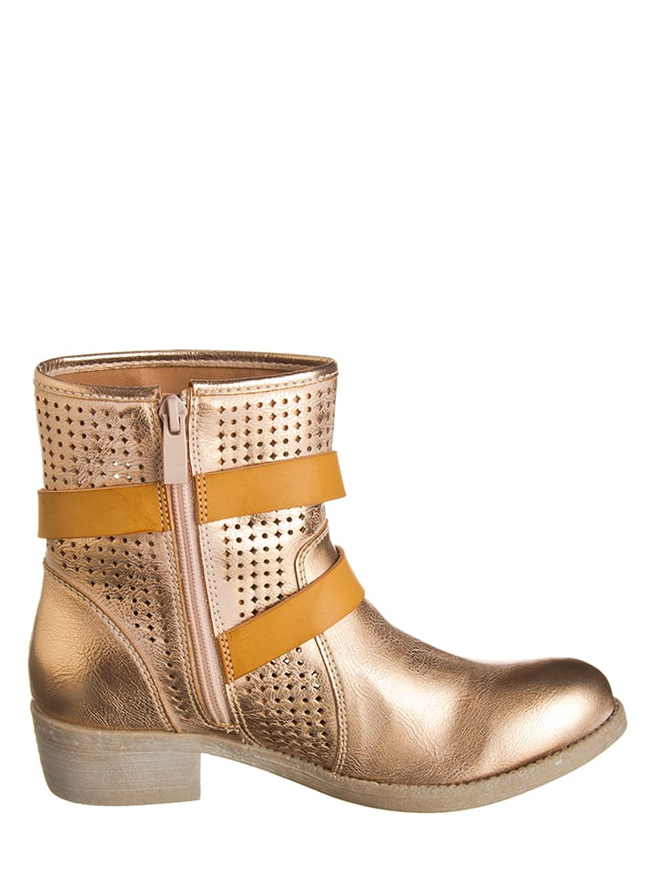 CAF猫NOIR Boots in Ros茅gold