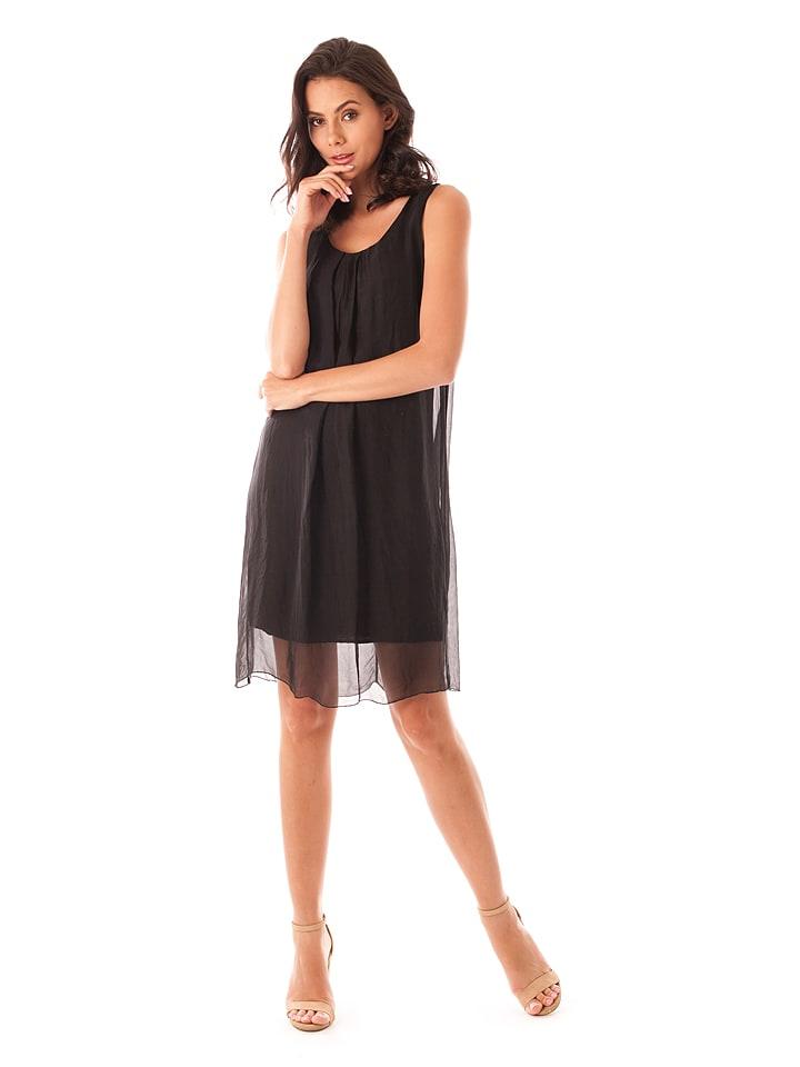 100% Soie Seiden-Kleid in Schwarz