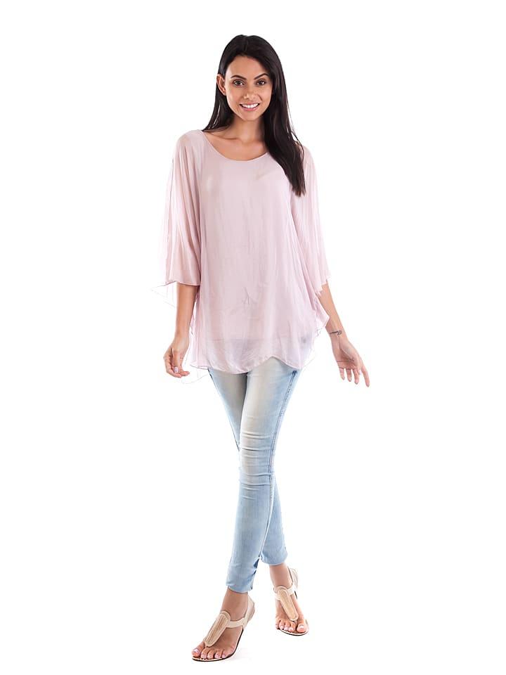 100% Soie Seiden-Shirt in Rosa