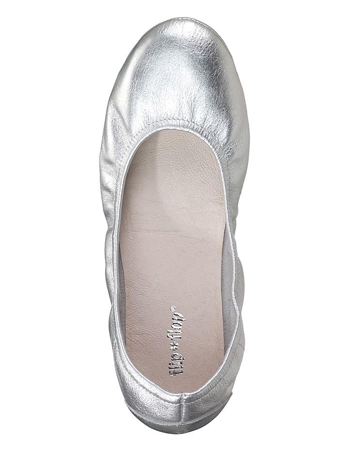 "Flip Flop Leder-Ballerinas ""Pure Ballet"" in Silber"