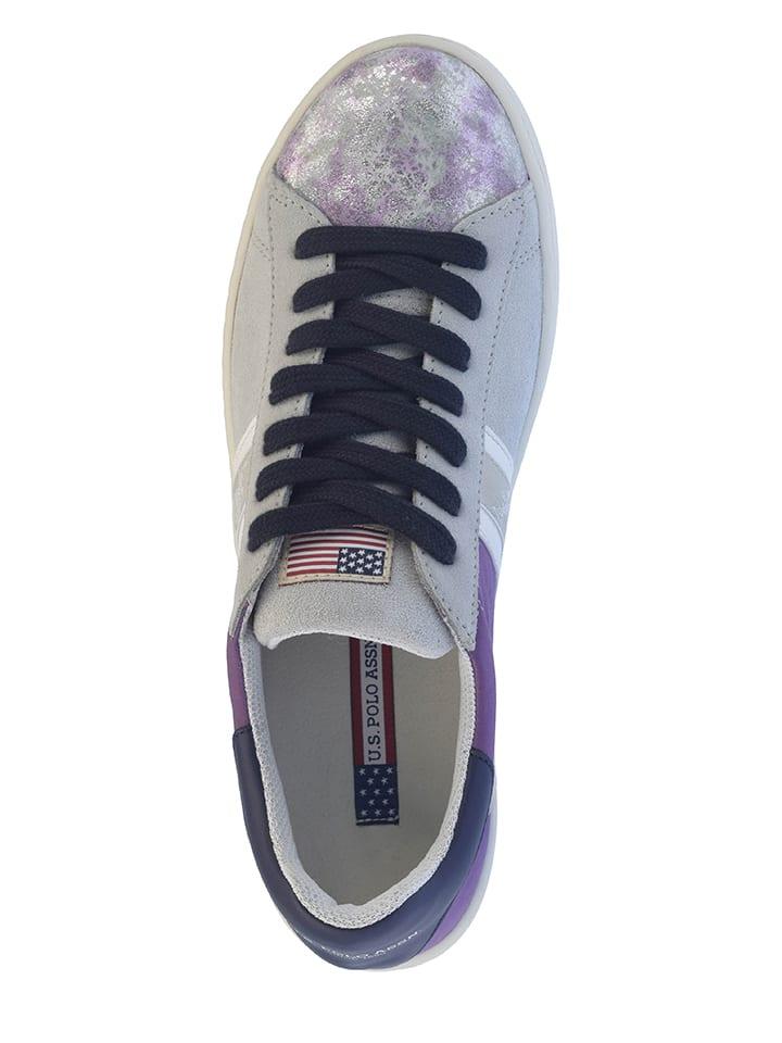 "U.S. Polo Leder-Sneakers ""Rafa"" in Grau/ Lila"