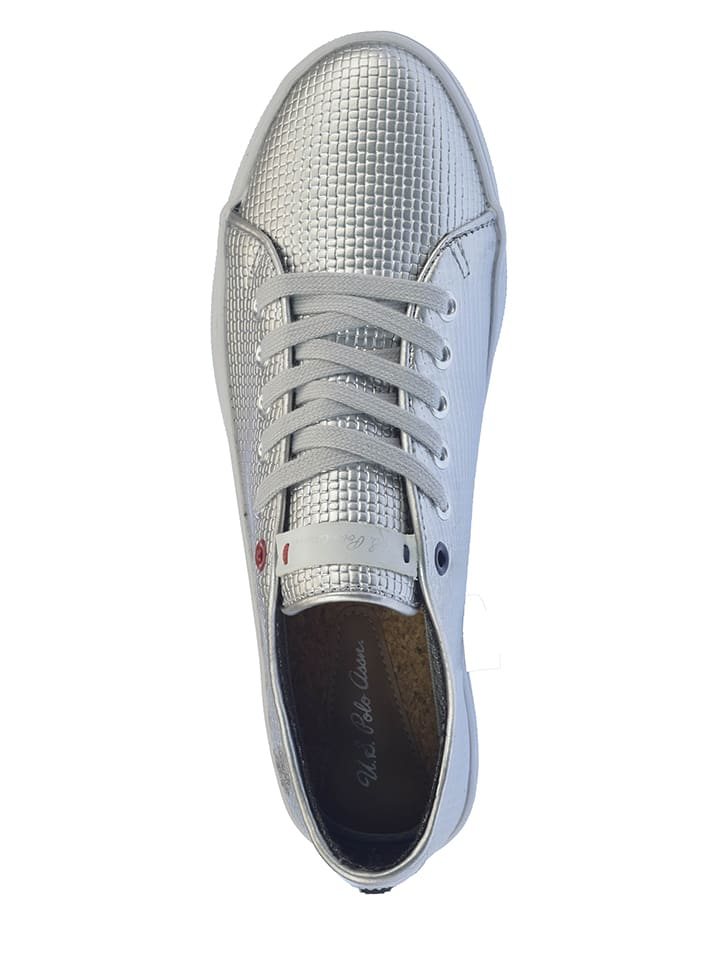 "U.S. Polo Leder-Sneakers ""Ronda"" in Silber"