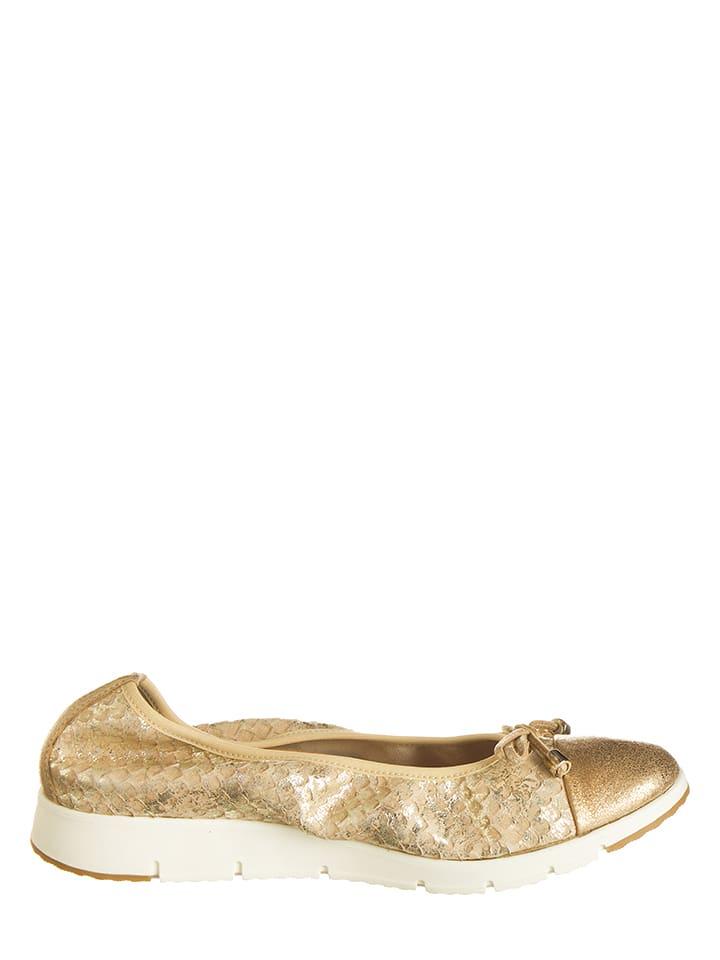 Otto Kern Leder-Ballerinas in Gold
