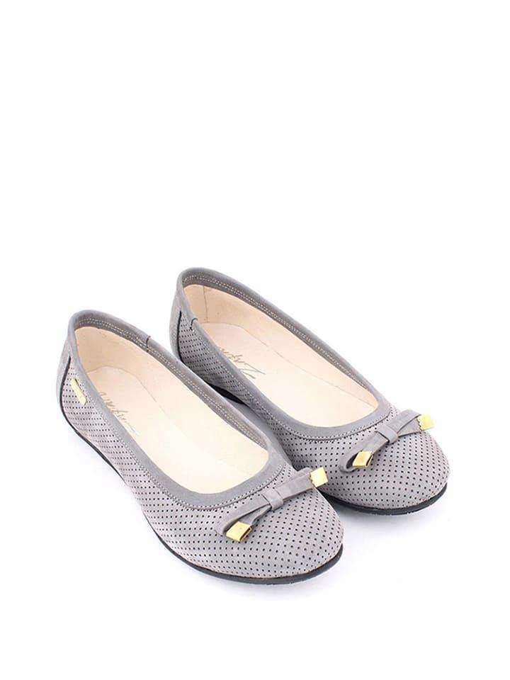 Zapato Leder-Ballerinas in Grau
