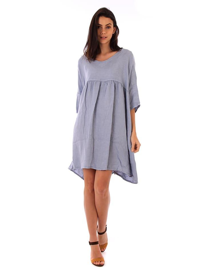 Lin Passion Leinen-Kleid in Blaugrau