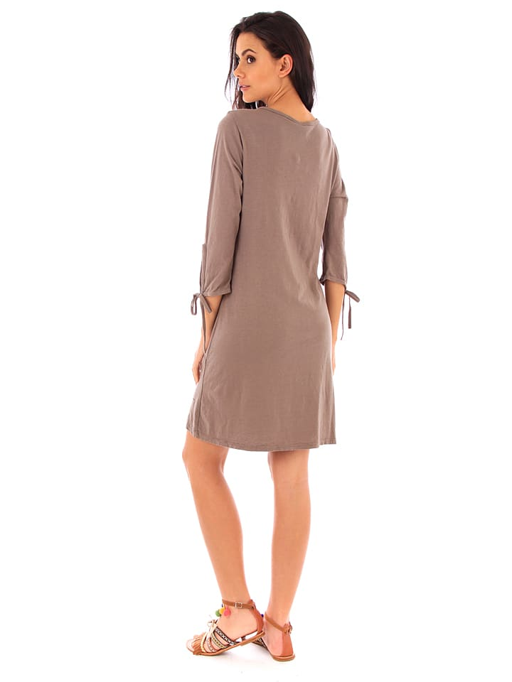 100% Coton Kleid in Taupe