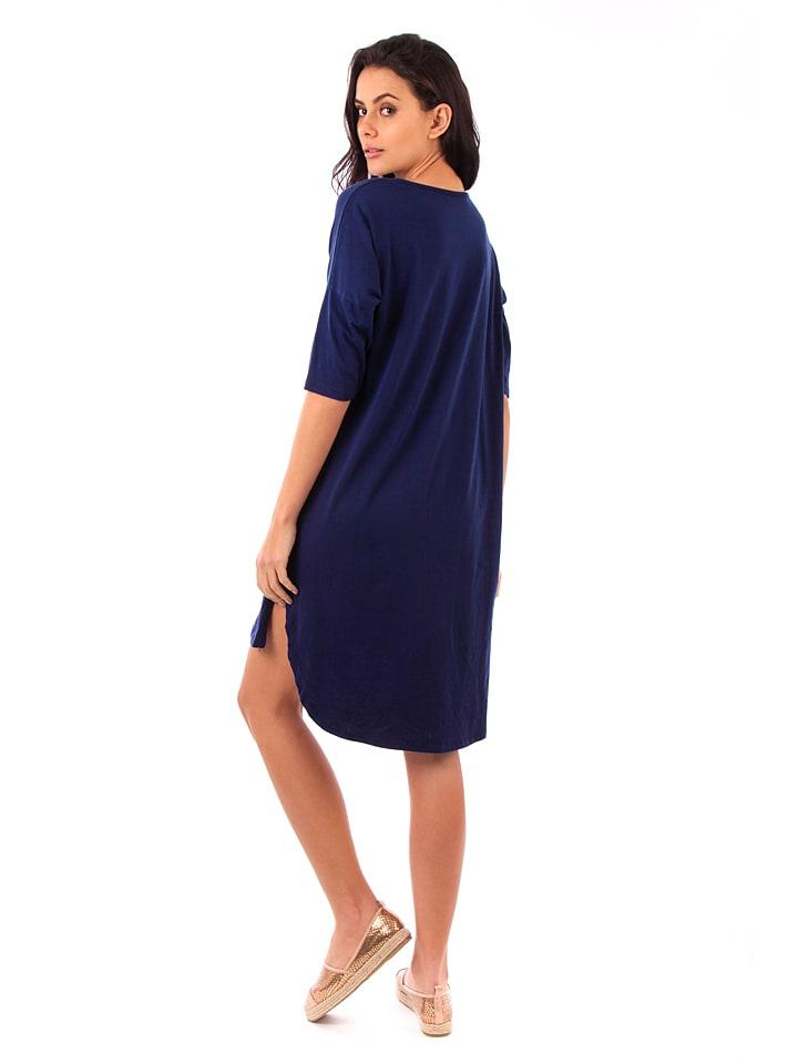 100% Coton Kleid in Dunkelblau
