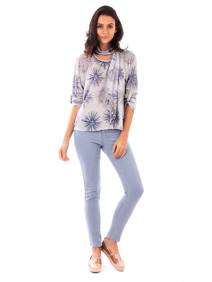 100% Coton 2tlg. Set: Shirt und Schal in Hellblau