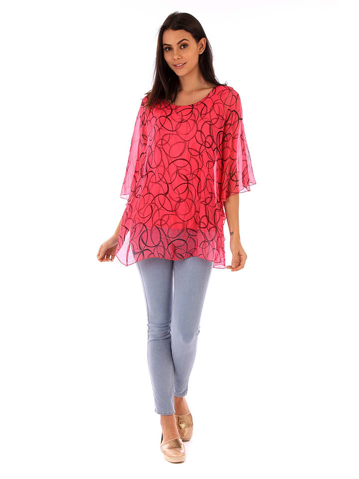 100% Soie Seiden-Shirt in Fuchsia