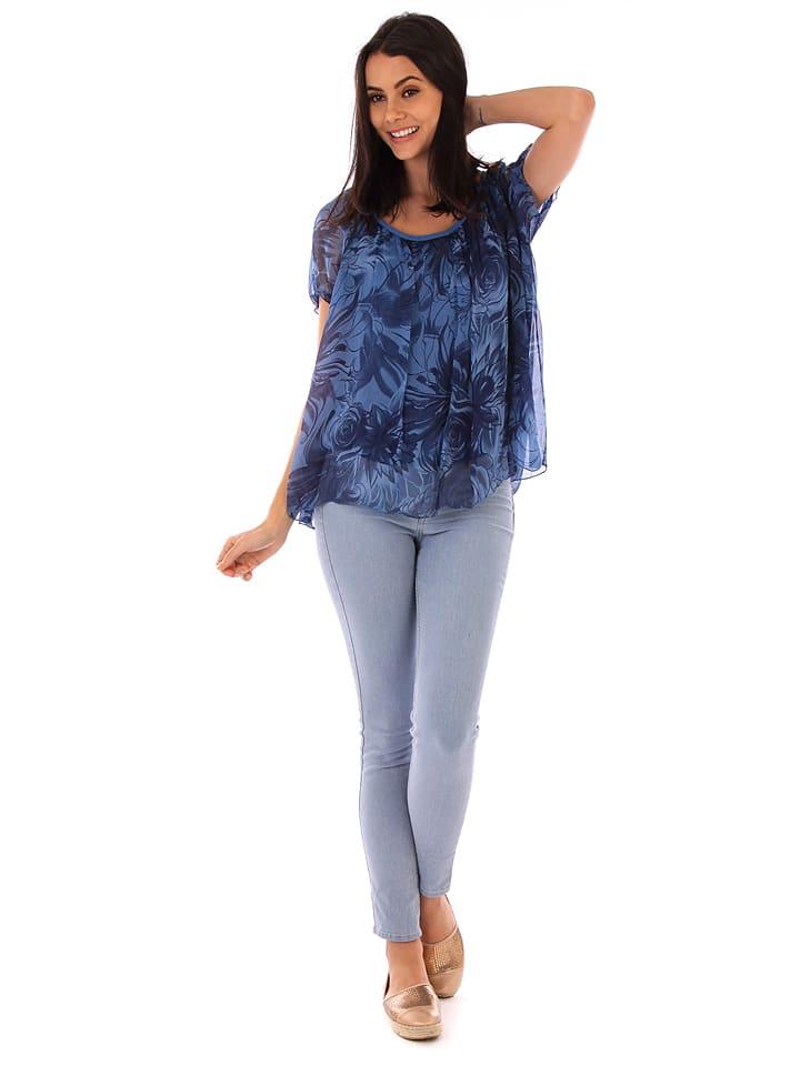 100% Soie Seiden-Shirt in Blau