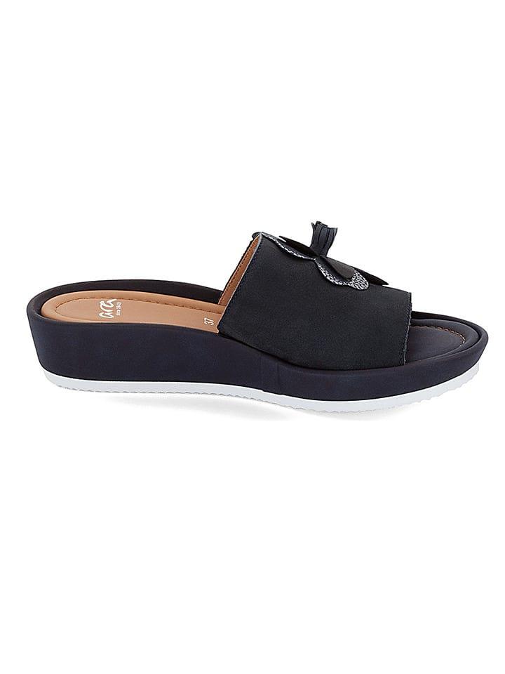 "Ara Shoes Leder-Pantoletten ""Tivoli"" in Dunkelblau"