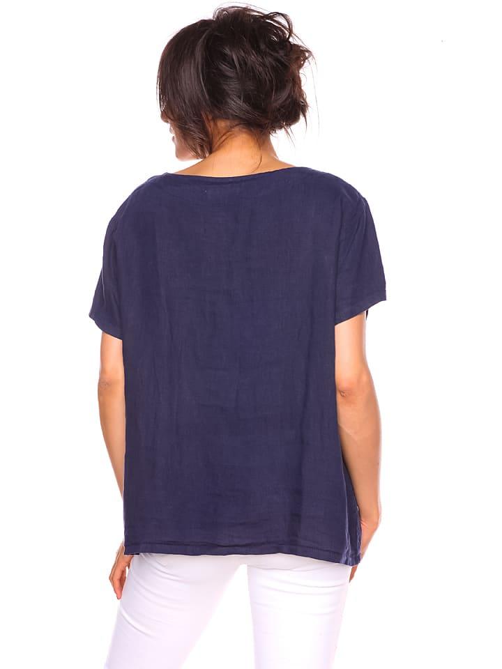 "Pur Lin Leinen-Shirt ""Dany"" in Dunkelblau"