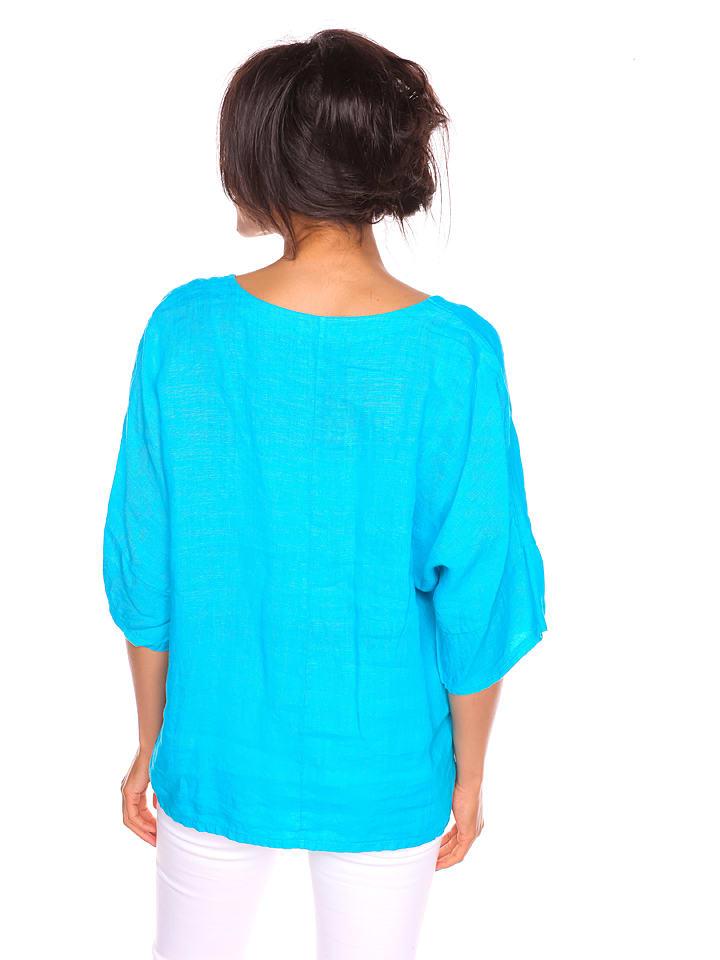 """Pur Lin Leinen-Shirt """"Sylvia"""" in T眉rkis"""