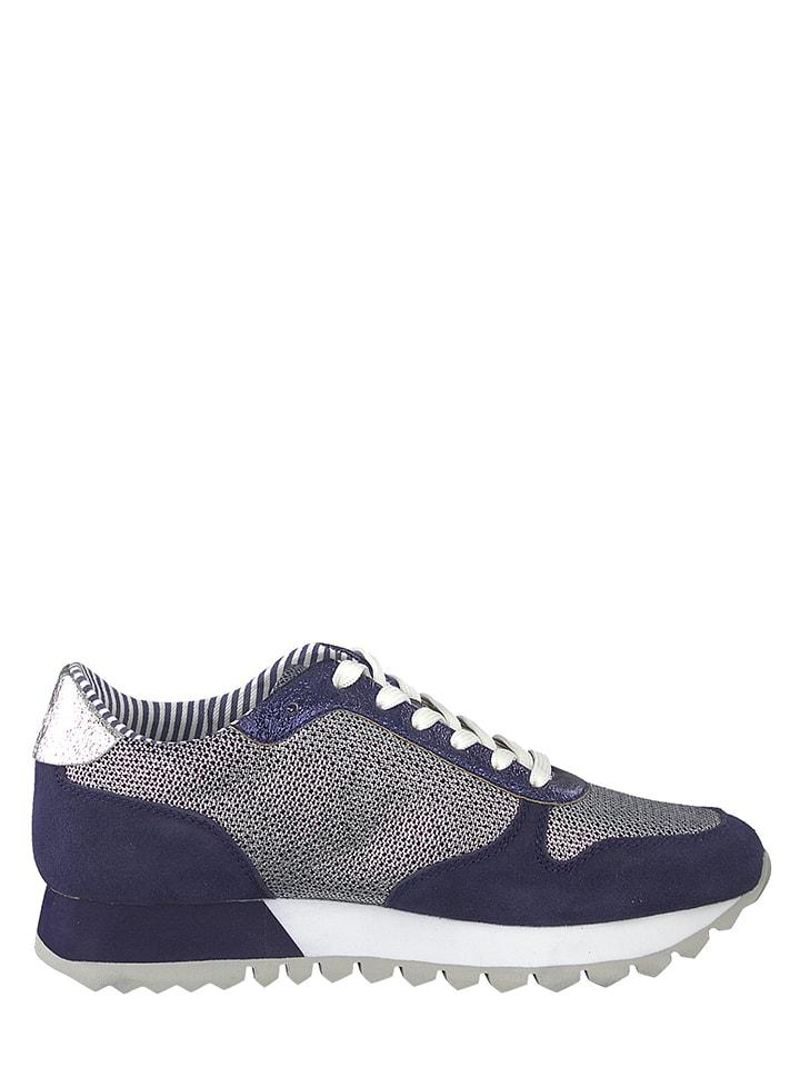S. Oliver Leder-Sneakers in Dunkelblau
