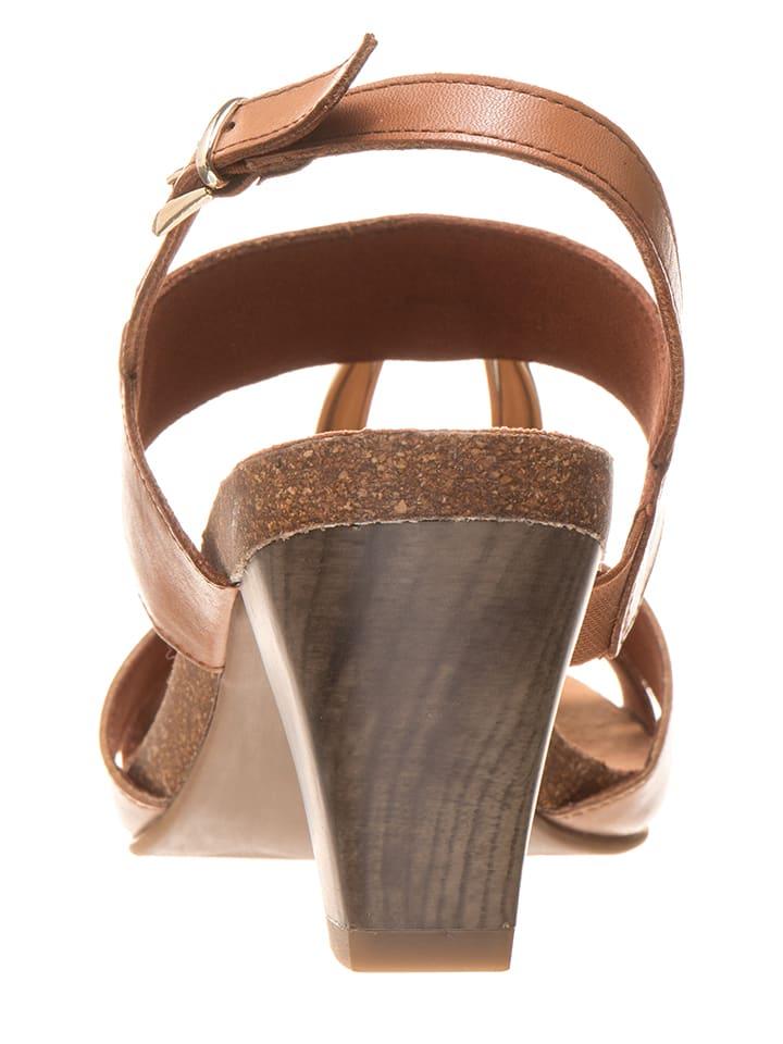 Caprice Leder-Sandaletten in Hellbraun/ Beige