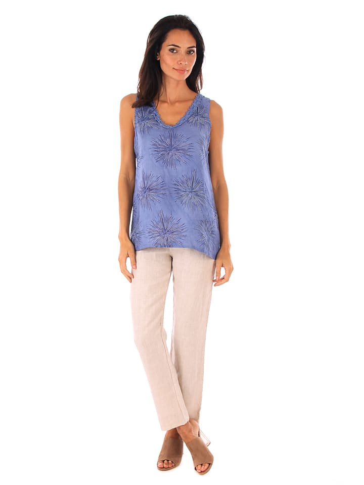 Naturelle en lin Leinen-Top in Blau